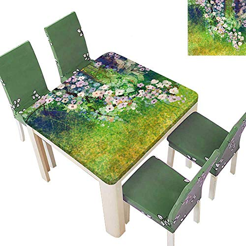 Indoor/Outdoor Polyester Tablecloth Japanese Cherry Blossom Sakura Tree Petals Grass Land Paint Pink Green Wedding Party 50 x 50 Inch (Elastic Edge)