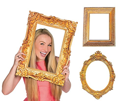 Deluxe Gold Picture Frame Cutouts (3 Piece Variety - Frame Photo Booth Cardboard