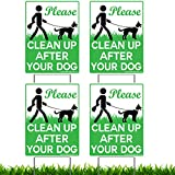 Vibe Ink 4 Pack of 9 x 12'' Please Clean Up After Your Dog - No Pooping Dog Lawn Signs with 4X Metal Wire H-Stakes Stands included