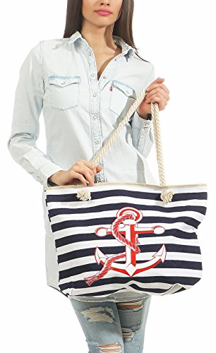 Women´s Blue striped Shoulder with malito Beach T300 Schoolbag anchor Bag Handbag Print Dark Bag fdqZ4wp