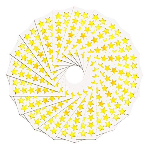 WXJ13 1.5 cm Gold Star Stickers Labels, 3500 Count,100 Sheet, Self-Adhesive -