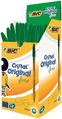BIC Cristal Original Fine - Bolígrafos punta fina (0.8 mm), Caja ...