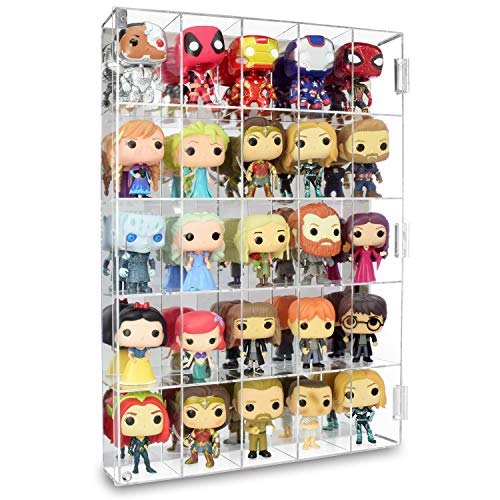 """Ikee Design Acrylic Display Mirrored Back Rack Organizer Storage Box Dustproof for Figure Display Any Toys and Mini Figures, Rock Stone with 25 Compartments, 15 3/4"""" W x 3 1/4"""" D x 21 1/2"""""""