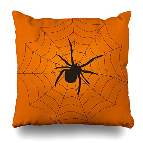 Decorativepillows 16 x 16 inch Throw Pillow Covers,Vintage Halloween Spider Pattern Double-sided Decorative Home Decor Indoor/Outdoor Garden Sofa Bedroom Car Kitchen Nice Gift
