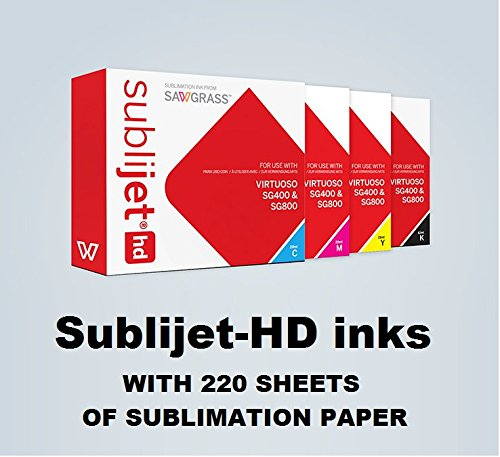 SUBLIJET HD Ink Cartridges for Sawgrass Virtuoso SG400 and SG800 Printers - COMPLETE SET (CMYK) - WITH 220 SHEETS OF SUBLIMATION PAPER (Made in Japan) by Sawgrass