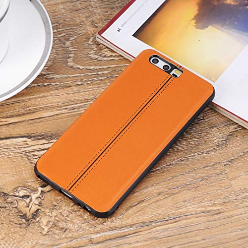 Mobile Phone Hard Cases for Huawei P10 Plain Weave Texture Leather Surface  Protective Back Cover Case(Black) Hard Cases (Color : Orange)