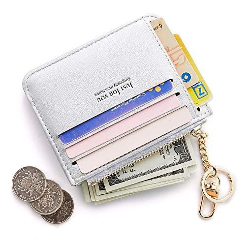 (Cyanb Slim Leather Credit Card Case Holder Front Pocket Wallet Change Purse for Women Girls with keychain Pearized Silver)