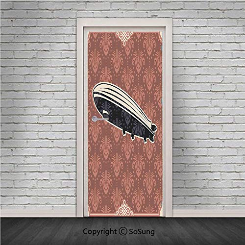 (Retro Poster Door Wall Mural Wallpaper Stickers,Vintage Damask Motif Featured Backdrop with Zeppelin Modern Mix Art Graphic,Vinyl Removable 3D Decals 30.4x78.7/2 Pieces set,for Home Decor Coral Black)