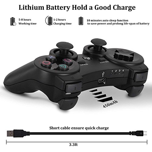 3 Controller Wireless Ps3 Playstation (PS3 Controller Wireless Dualshock3 PS3 - OUBANG Upgrade Version Best PS3 Games Remote Bluetooth Sixaxis Control Gamepad Heavy-duty Game Accessories for PlayStation3,with PS3 Charger (Black))