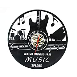 Crazypicky Musical Instruments Guitar Drums Band Wall Lamp Vintage Handmade Home Decor LED Wall Decor Vinyl Record Nightlight Clock