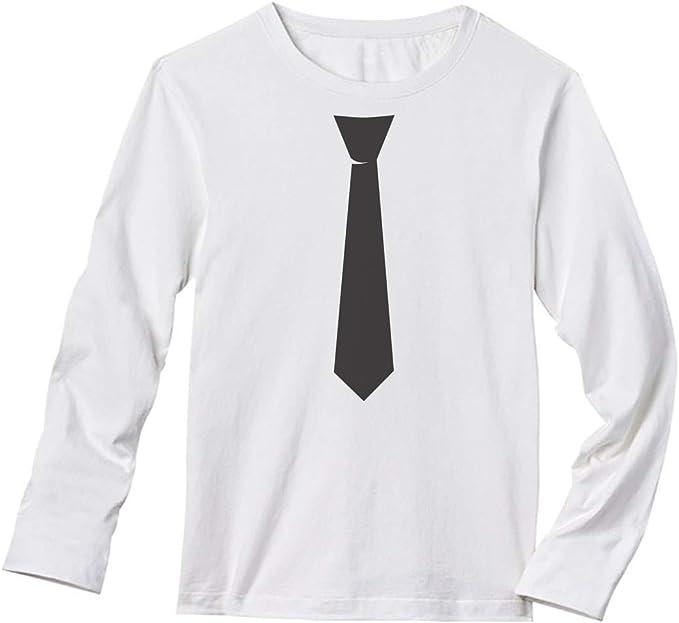 TeeStars - Camiseta de Manga Larga con Corbata Negra Estampada ...