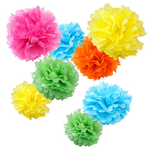 """WYZworks Set of 8 (Assorted Tropical Color Pack) 8"""" 12"""" 14"""" Tissue Pom Poms Flower Party Decorations for Weddings, Birthday, Bridal, Baby Showers Nursery Décor"""