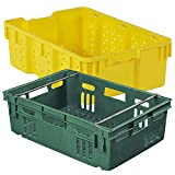 24'' x 16'' Yellow Stack-N-Nest Ventilated Agricultural Container Crates