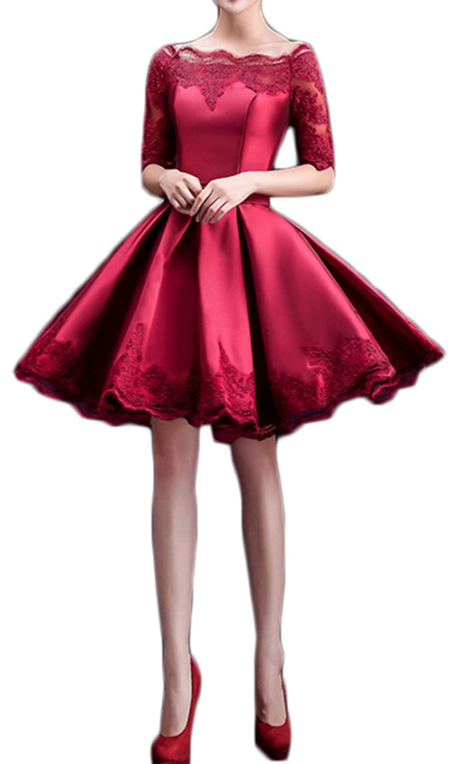 Eudolah Women's Short 3/4 Sleeve Cocktail Lace Embroidery Bridesmaid Dress
