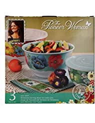 The Pioneer Woman Lily Dot Melamine Mixing Bowl Sets with Lids - Set of (3)
