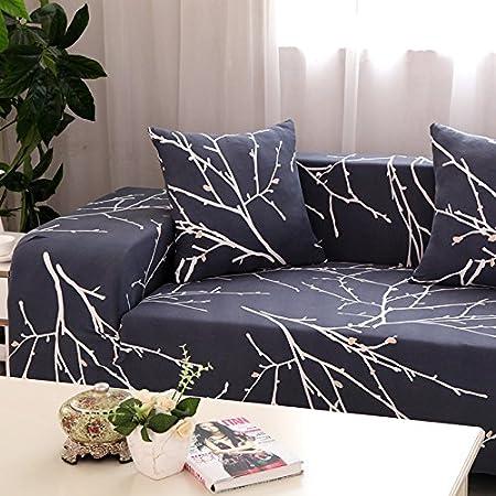 Hysenm - Funda de sofá de 1/2/3/4 plazas, cubre sofá ajustable, suave, elástico, colores auténticos de flores, tela, diente de león, 4 Sitzer ...