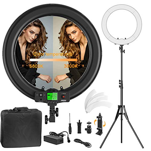 Ring Light,Upgraded Version19inch with LCD Display Adjustable Color Temperature 3000K-5800K with Stand, YouTube Makeup Dimmable Video LED Light Kit, for Video Shooting, Portrait, Vlog, Selfie