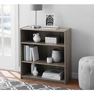 Mainstays Rustic Oak 3-Shelf Wood Bookcase with Elegant Honeycomb Vase