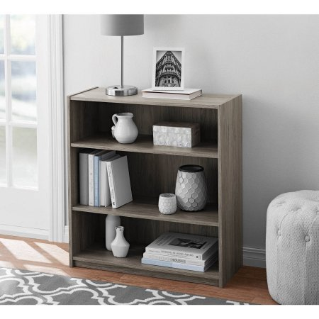 Cheap  Easy to Assemble, Contemporary Style, Mainstays 3-Shelf Wood Bookcase in Rustic Oak,..