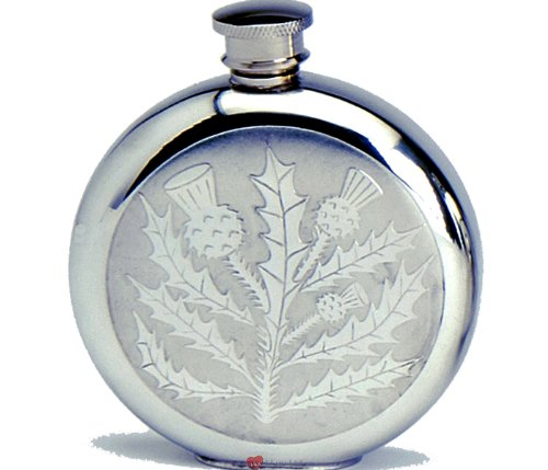 6oz Pewter Spirit Liquor Hip Flask - Round with Classic Scottish Thistles 6 Ounce Thistle