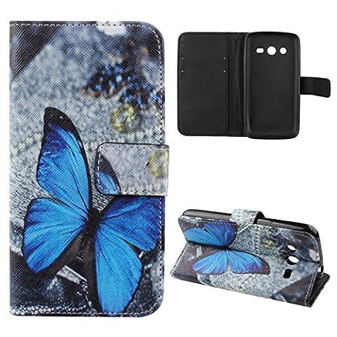Galaxy Avant Case,Samsung Galaxy Avant G386 Case,Samsung Galaxy Avant Wallet Case,UZZO PU Leather Flip Wallet Case Cover For Samsung Galaxy Avant G386T,Samsung Galaxy Core LTE 4G G386F (Blue (Samsung Galaxy Core Lte Case G386)