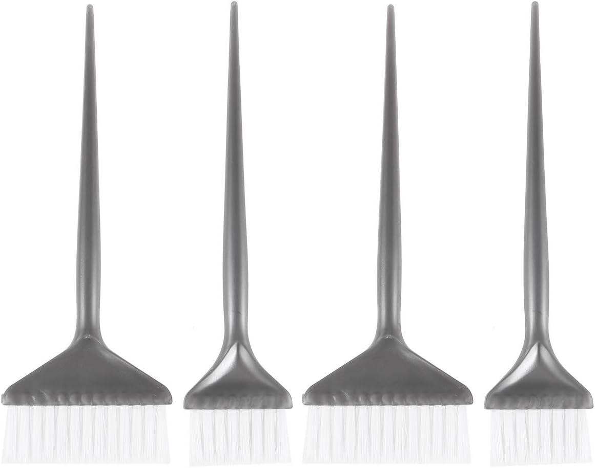 Lurrose 4 brochas para teñir el cabello, mango ampliado, suave, teñido, teñido, maquillaje, herramienta para peluquería de 5 cm, 7 cm, color plateado