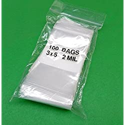 "100 3x5 WHITE BLOCK ZIPLOCK BAGS 2Mil CLEAR POLY WRITEABLE ZIP LOCK 3""x5"" (5E) NOVELTOOLS"