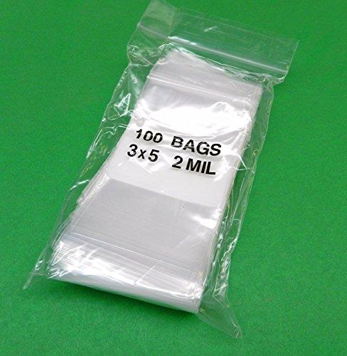 100 3x5 white block ziplock bags 2mil clear w/ white stripe-block poly plastic writeable zip lock 3