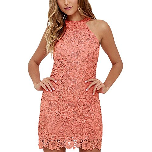 Womens Halter Lace Dresses for Special Occasions, Watermelon Red, Medium