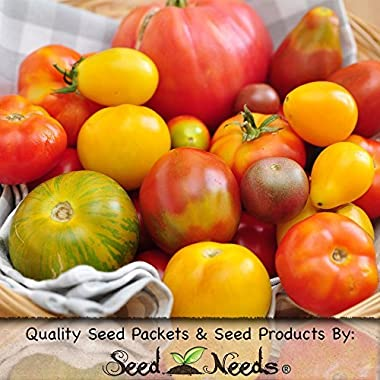 Package of 70 Seeds, Rainbow Mixed Tomato (Black Krim, Black Sea Man, Yellow Brandywine, Tiny Tim, Ace 55 & More!) Non-GMO Seeds by Seed Needs
