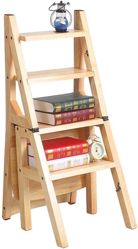 QQXX Taburete con escalones Silla Plegable de Madera Maciza Silla de Tijera/ Escalera multifunción con 4 peldaños (Color: Color Madera) Capacidad 150 kg-: Amazon.es: Hogar