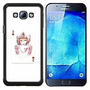 TECHCASE---Cubierta de la caja de protección para la piel dura ** Samsung Galaxy A8 ( A8000 ) ** --3 de corazones