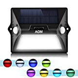 AGM Solar Light Outdoor Upgrade Solar Powered Color Led with Dual-headed Motion Sensor+IPX65 Super Waterproof+180°Wide Human Induction for Outside Door Patio Garden Pool Garage Yard Path (1 Pack)