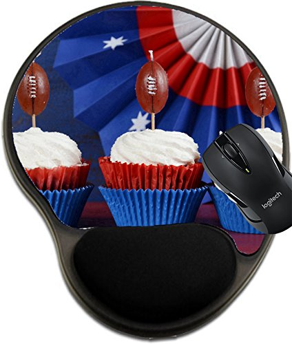 MSD Natural Rubber Mousepad wrist protected Mouse Pads/Mat with wrist support design: 35239476 Red white and blue theme cupcakes with football toppers for Super Bowl Sunday party or collage football f Brown Football Collage