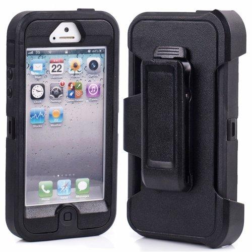 Huaxia Datacom Body Armor Heavy Duty Dirtproof Shockproof Hybrid Defender Case with Holster Belt Clip for iPhone 5 5G - Black on Black