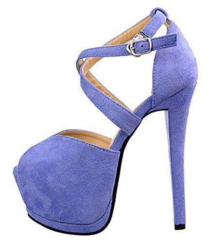 HooH Damen Flanell Cross Strap Platform Stiletto Sandalen 117-32 Blau