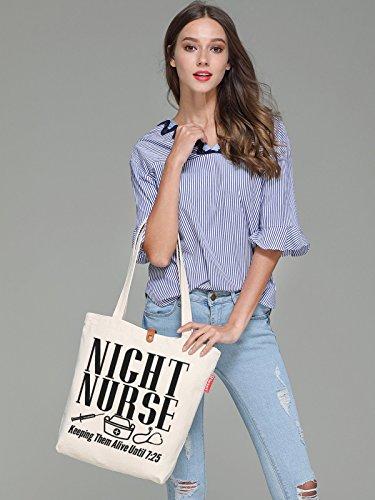 So'each Women's Night Nurse Letters Graphic Top Handle Canvas Tote Shoulder Bag