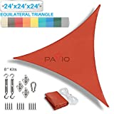 Patio Paradise 24' x 24' x 24' Sun Shade Sail with 8 inch Hardware Kit, Red Equilateral Triangle Canopy Durable Shade Fabric Outdoor UV Shelter - 3 Year Warranty - Custom Size Available