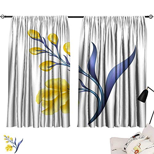 (Blackout Window Curtain abstract tropical flower botanical illustration decorative blooming twig scroll leaves clip art element isolated on white background 54