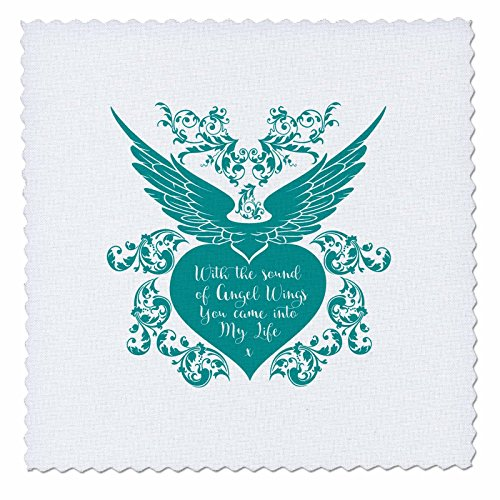 3dRose Russ Billington Designs - Angel Wings- Beautiful words in White over Teal Heart with Wings - 16x16 inch quilt square (qs_262051_6) (Craft Heart Russ)
