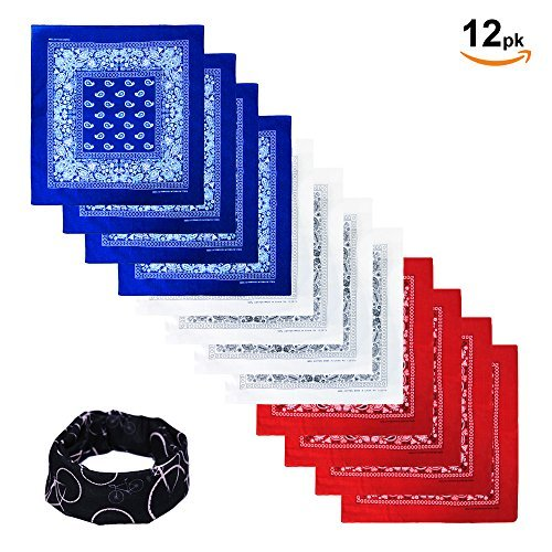 Basico 100% Cotton Head Wrap Bandanas 12 Pack with Tube Face Mask/Headband (Blue/ White/ Red)