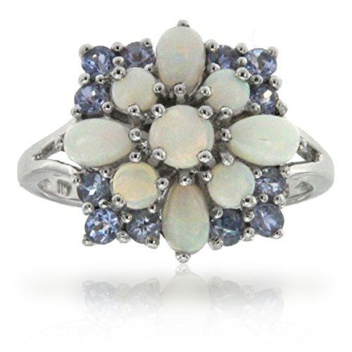 - 14k White Gold Opal and Tanzanite Cluster Gemstone Ring, Birthstone of October