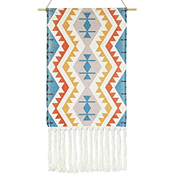 KLOLKUTTA Macrame Wall Hanging Décor- Orange and Blue Small Art Woven Wall Décor for Holiday, Birthday Party