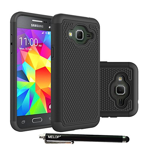 Price comparison product image Galaxy J3 case, MELOP Hybrid Dual Layer Shock Absorbing Armor Ultra Defender Protective Shell Case Cover for Samsung Galaxy J3 (2016) J3 V, Amp Prime, Express Prime, Sol - Black