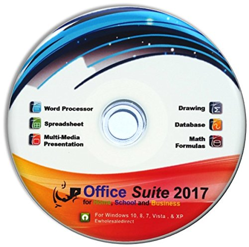 Office Suite 2017 CD with PDF software, for Home Student Professionals and Business, Compatible with Microsoft Office for Windows 10 8 7 by eWS