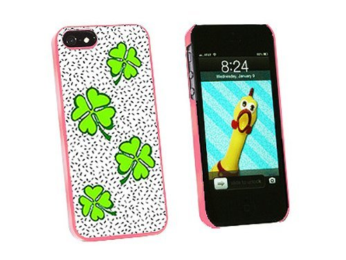 Graphics and More Lots of Luck Lucky Irish Four Leaf Clover Snap-On Hard Protective Case for iPhone 5/5s - Non-Retail Packaging - Pink