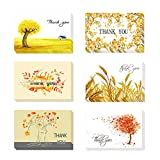 24 Pack Thank You Cards Set, Kraft Paper Assorted Greeting Cards Autumn Thank U Card Envelopes Thank You Stickers for Wedding Graduation Birthday Festivals Sympathy (24PCS Autumn)