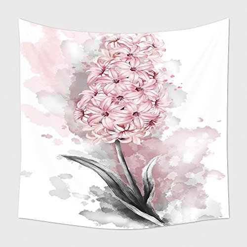 Home Decor Tapestry Wall Hanging Watercolor Drawing Pink Hyacinth Garden Flower Leaves Illustration Isolated On White for Bedroom Living Room Dorm