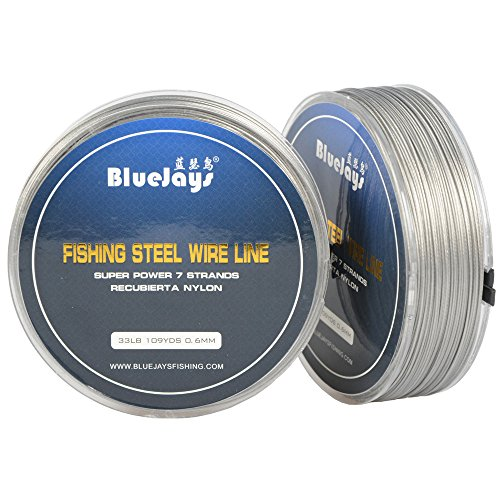 - LOTITONG 100 Metres 33 Pound 0.6mm Fishing Stee Wire Nylon Coated 1x7 Stainless Steel Leader Wire Super Soft Fishing Wire Lines