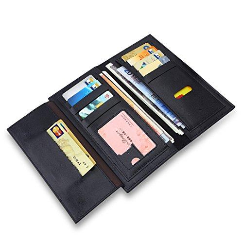 MPTECK @ Schwarz Lange Geldbörse groß viele fächer für Damen Portemonnaie Frauen Brieftasche Geldbeutel Elegant Tasche PU Leder Clutch handtasche mit Reißverschluss Münztasche Mappen Kreditkarte Halte Schwarz